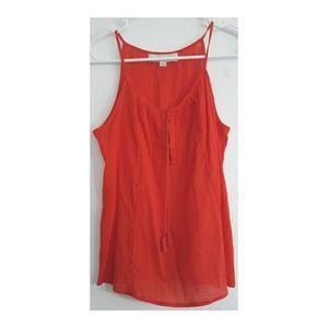 Loft orange eyelet sleeveless boho blouse